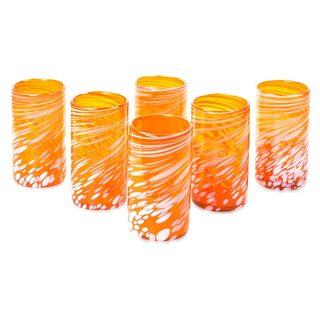 Colorful Festive Orange Glassware or Barware Everyday or Entertaining Handmade Multicolor Set of 6 Tumbler Glasses (Mexico)