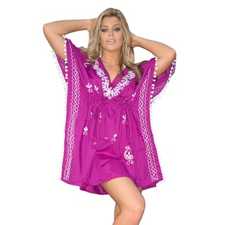 La Leela Embroidered Bikini Cover up Beachwear Dresses Kaftan Tunic Sleepwear Casual Wear M-5X