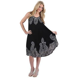 La Leela RAYON PLUS Size Dress Cover up HAND Tie Dye Tank Paisley Caftan Black