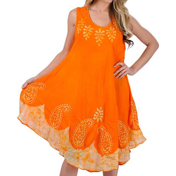 24c43d7d43 La Leela RAYON PLUS Size Dress Cover up HAND Tie Dye Tank Paisley Caftan  Orange