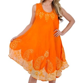 La Leela RAYON PLUS Size Dress Cover up HAND Tie Dye Tank Paisley Caftan Orange