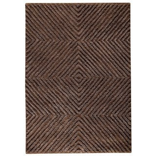 M.A.Trading Indo Hand-tufted Buffalo Brown Wool Area Rug (5'6 x 7'10)