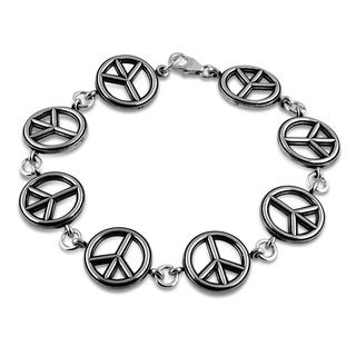 Journee Collection Sterling Silver Peace Sign Bracelet