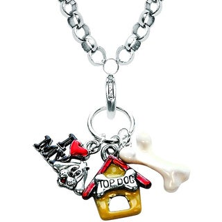 Silver Overlay Dog Charm Necklace