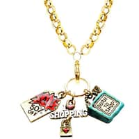 Gold Overlay Shopper Mom Charm Necklace