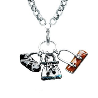 Silver Overlay Purse Charm Necklace