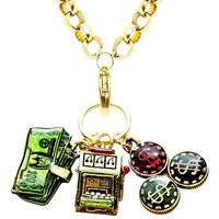 Gold Overlay Casino Charm Necklace