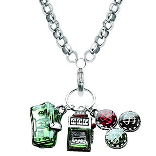 Silver Overlay Casino Charm Necklace