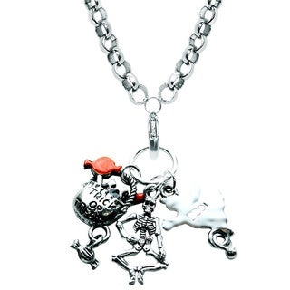Silver Overlay Halloween Charm Necklace