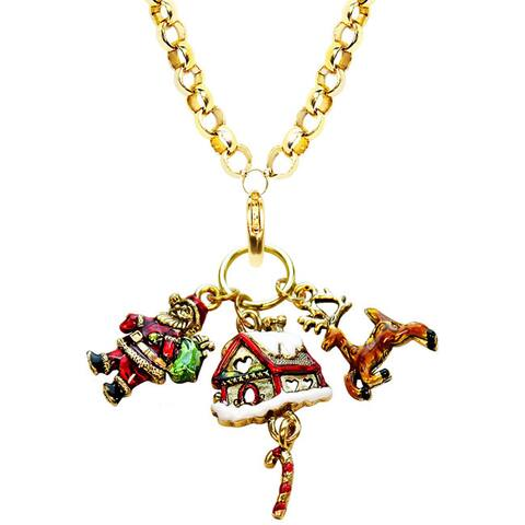 Gold Overlay Christmas Charm Necklace