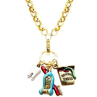 Gold Overlay Dental Assistant Charm Necklace