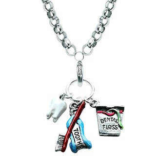 Silver Overlay Dental Assistant Charm Necklace