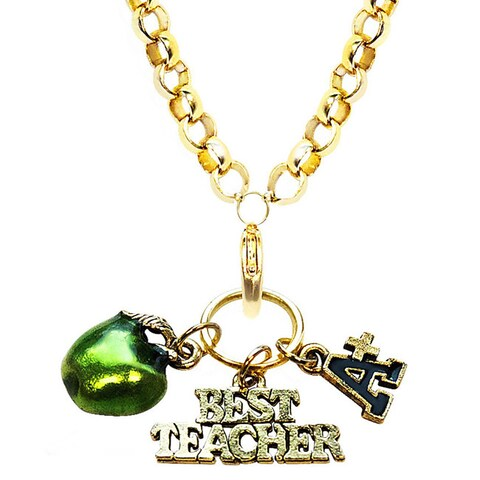 Gold Overlay Teacher Charm Necklace