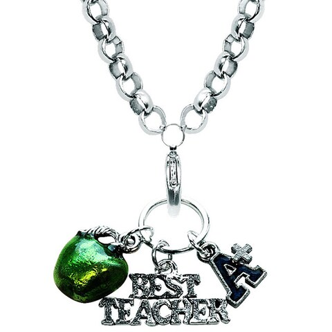 Silver Overlay Teacher Charm Necklace