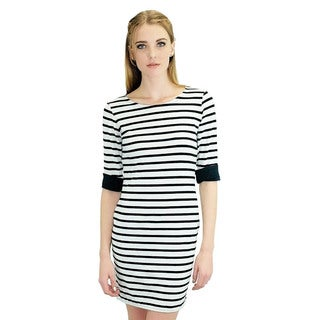 Relished Women's Black/ White Striped Shirt Dress