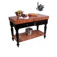 John Boos RN-LR05-SSL American Cherry Le Rustica Butcher Block 48 x 24 Table with Shelf and Henckels 13-piece Knife Block Set