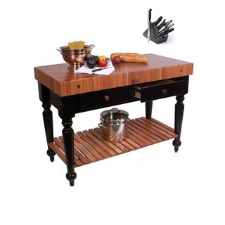John Boos RN-LR05-SSL American Cherry Le Rustica Butcher Block 48 x 24 Table with Shelf and Henckels 13-piece Knife Block Set