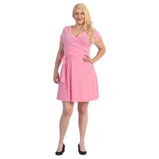 Plus Size Women's Pink Flare Dress