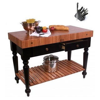 John Boos American Cherry Le Rustica Butcher Block 30 x 24 Table and Shelf and Henckels 13-piece Knife Block Set