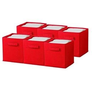 Foldable Red Storage Cube Basket Bin (6-pack)