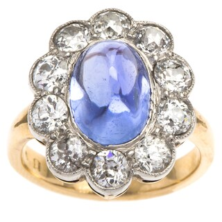 14k Yellow Gold and Platinum 1 1/2ct TDW Diamond and Cabochon Sapphire Antique Cocktail Ring (H-I, S