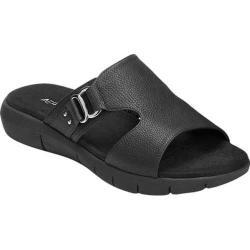 Women's Aerosoles New Wip Slide Sandal Black Faux Leather