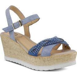 Women's Spring Step Uribia Wedge Sandal Blue Leather