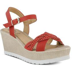 Women's Spring Step Uribia Wedge Sandal Coral Leather