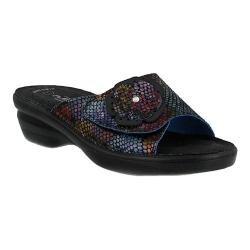 Women's Flexus by Spring Step Fabia Slide Sandal Black Multi Leather
