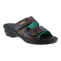 Women's Flexus by Spring Step Kina Slide Sandal Black Multi Leather