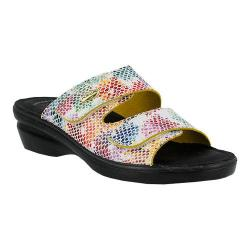Women's Flexus by Spring Step Kina Slide Sandal White Multi Leather