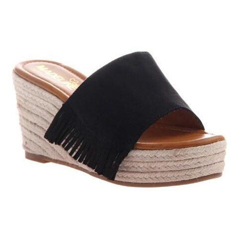 Women's Madeline Dashed Wedge Slide Black Textile