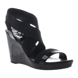 Women's Madeline Poise Wedge Strappy Sandal Black Textile/Synthetic