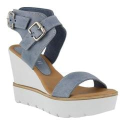 Women's Azura Leticia Wedge Platform Sandal Denim Leather