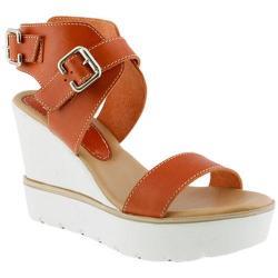 Women's Azura Leticia Wedge Platform Sandal Orange Leather