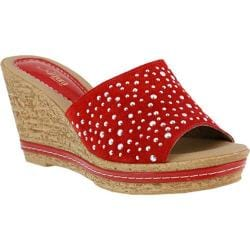 Women's Azura Listen Slide Wedge Sandal Red Suede