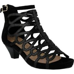 Women's Azura Lydney Caged Sandal Black Microsuede