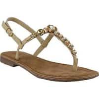 Women's Azura Malaysia Thong Sandal Beige Leather