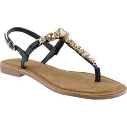 Women's Azura Malaysia Thong Sandal Black Leather