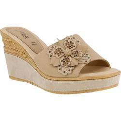 Women's Azura Montanara Slide Wedge Sandal Beige Leather