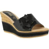 Women's Azura Montanara Slide Wedge Sandal Black Leather