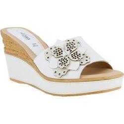 Women's Azura Montanara Slide Wedge Sandal White Leather