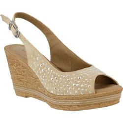 Women's Azura Showtime Studded Wedge Sandal Beige Suede