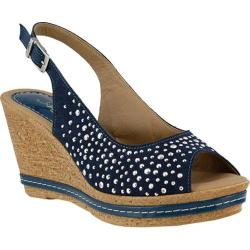 Women's Azura Showtime Studded Wedge Sandal Navy Suede