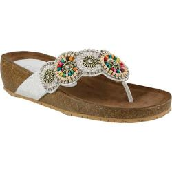 Women's Azura Urla Beaded Wedge Thong White Leather