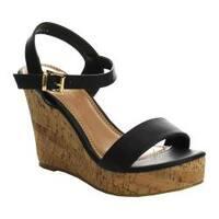 Women's L & C Super-01 Ankle Strap Wedge Sandal Black