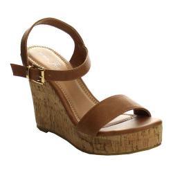 Women's L & C Super-01 Ankle Strap Wedge Sandal Cognac