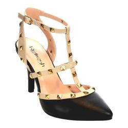 Women's Beston Viva-01 Strappy Studded Ankle Strap Black Faux Leather