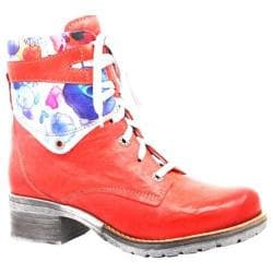 Women's Dromedaris Kara Flower Print Lace Up Boot Coral Soft Waxy Leather/Suede
