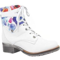 Women's Dromedaris Kara Flower Print Lace Up Boot Ivory Soft Waxy Leather/Suede
